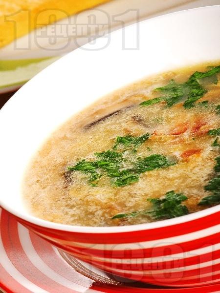Бирена супа с бекон, гъби и картофи - снимка на рецептата